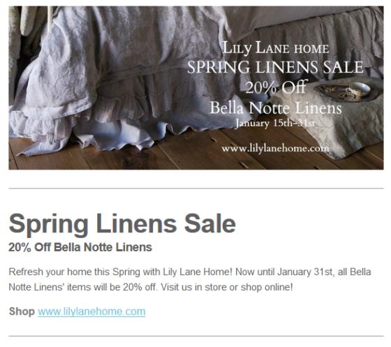 Spring Linens Sale - Bella Notte Linens Sale